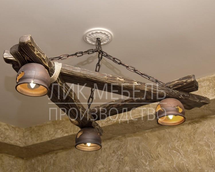 Люстры на цепях из дерева 97